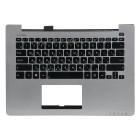 Верхняя панель для ноутбука Asus S300CA с клавиатурой 0KNB0-3105RU00 90NB00Z0-R31RU0 Silver panel, black buttons