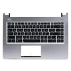 Верхняя панель для ноутбука Asus K46 с клавиатурой, Серебряная панель, чёрные клавиши